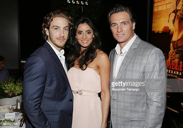 Eugenio Siller Paola Nunez and Juan Soler attend Telemundo Luncheon to launch 'Camelia Le Texana' during NATPE at Eden Roc Hotel on January 27 2014...