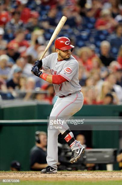 Eugenio Suarez of the Cincinnati Reds bats against the Washington Nationals at Nationals Park on June 23 2017 in Washington DC