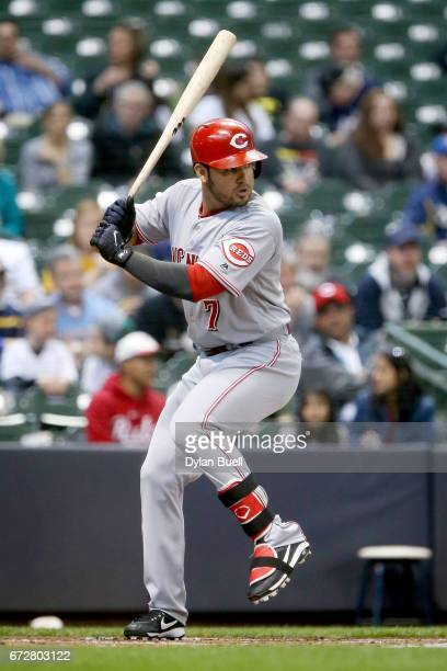 Eugenio Suarez of the Cincinnati Reds bats in the first inning against the Milwaukee Brewers at Miller Park on April 24 2017 in Milwaukee Wisconsin