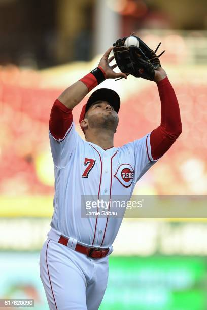 Eugenio Suarez of the Cincinnati Reds catches a fly ball against the Washington Nationals at Great American Ball Park on July 14 2017 in Cincinnati...