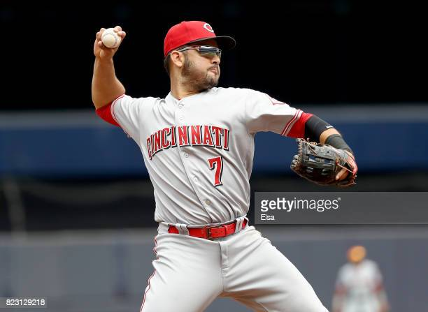 Eugenio Suarez of the Cincinnati Reds fields a hit by Todd Frazier of the New York Yankees in the third innign on July 26 2017 at Yankee Stadium in...