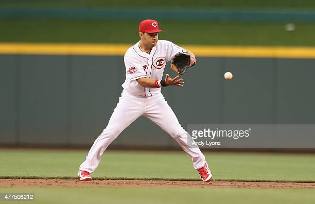 Eugenio Suarez of the Cincinnati Reds fields the ball during the game against the Detroit Tigers at Great American Ball Park on June 17 2015 in...
