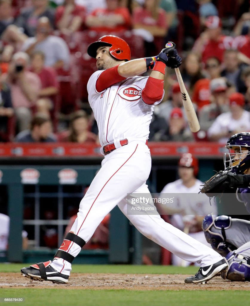 Eugenio Suarez #7 of the Cincinnati Reds hits a double in the eighth inning against the Colorado Rockies at Great American Ball Park on May 19, 2017 in Cincinnati, Ohio.