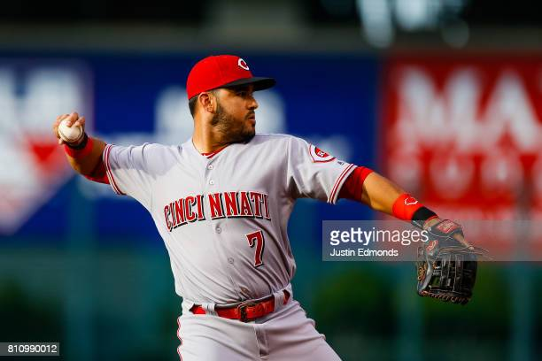 Eugenio Suarez of the Cincinnati Reds in action during the game against the Colorado Rockies at Coors Field on July 5 2017 in Denver Colorado
