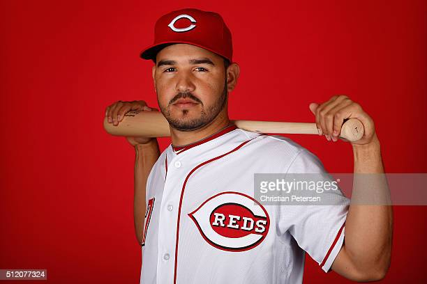 Eugenio Suarez of the Cincinnati Reds poses for a portrait during spring training photo day at Goodyear Ballpark on February 24 2016 in Goodyear...