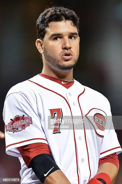 Eugenio Suarez of the Cincinnati Reds reacts after striking out against the New York Mets at Great American Ball Park on September 25 2015 in...