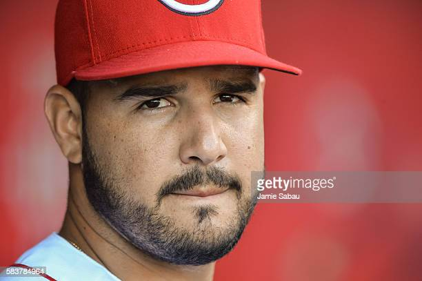Eugenio Suarez of the Cincinnati Reds takes a breather in the dugout against the Atlanta Braves at Great American Ball Park on July19 2016 in...