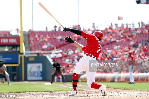 Eugenio Suarez of the Cincinnati Reds takes an at bat during the game against the Pittsburgh Pirates at Great American Ball Park on September 17 2017...