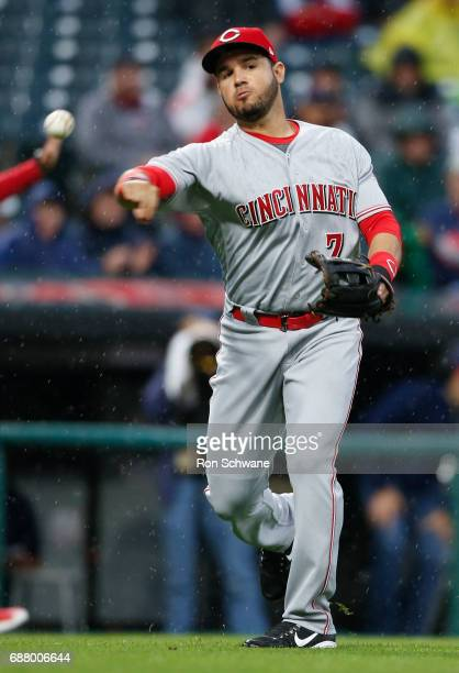 Eugenio Suarez of the Cincinnati Reds throws out Francisco Lindor of the Cleveland Indians at first base during the fifth inning at Progressive Field...