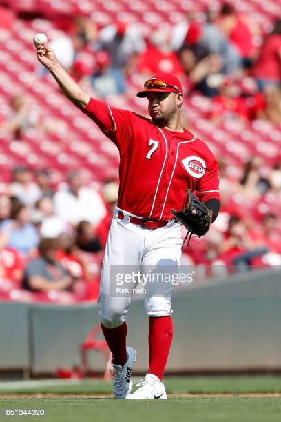 Eugenio Suarez of the Cincinnati Reds throws the ball to first base during the game against the Pittsburgh Pirates at Great American Ball Park on...