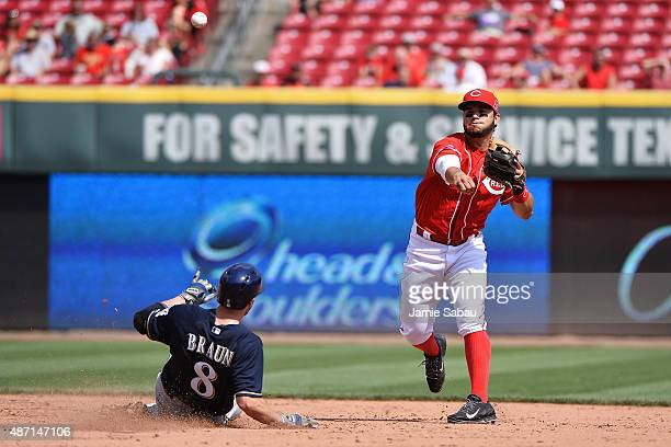 Eugenio Suarez of the Cincinnati Reds throws to first base after forcing out Ryan Braun of the Milwaukee Brewers at second base in the sixth inning...