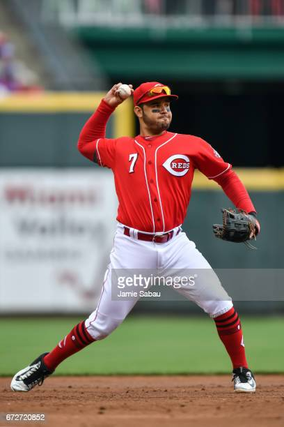 Eugenio Suarez of the Cincinnati Reds throws to first base against the Chicago Cubs at Great American Ball Park on April 22 2017 in Cincinnati Ohio
