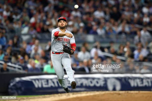 Eugenio Suarez of the Cincinnati Reds throws to first base during the game against the New York Yankees at Yankee Stadium on Tuesday July 2017 in the...