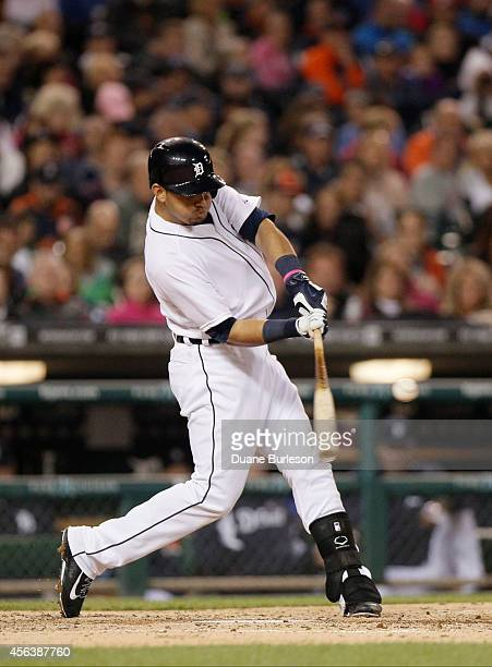 Eugenio Suarez of the Detroit Tigers bats against the Cleveland Indians at Comerica Park on September 12 in Detroit Michigan