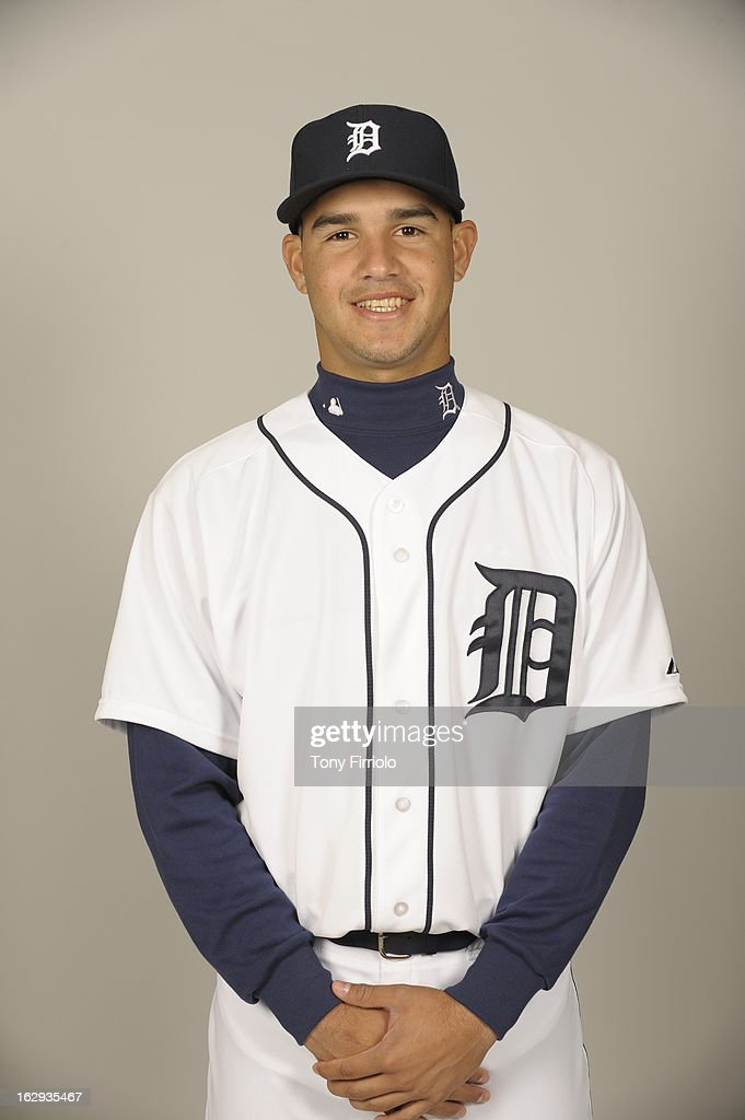 Eugenio Suarez #77 of the Detroit Tigers poses during Photo Day on February 19, 2013 at Joker Marchant Stadium in Lakeland, Florida.