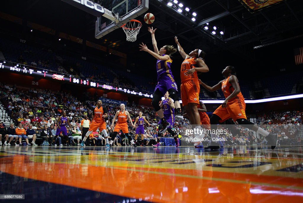 Eugeniya Belyakova #10 of the Los Angeles Sparks drives to the basket past Morgan Tuck #33 of the Connecticut Sun during the Los Angeles Sparks Vs Connecticut Sun, WNBA regular season game at Mohegan Sun Arena on May 26, 2016 in Uncasville, Connecticut.