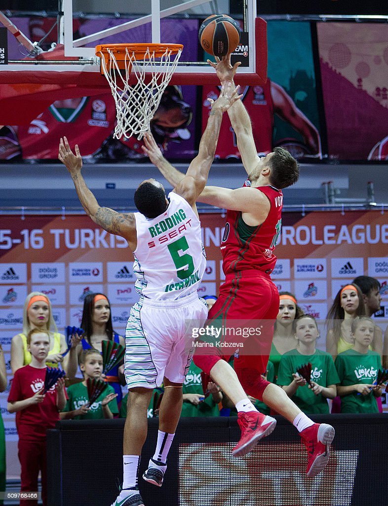 Eugeny Voronov, #18 of Lokomotiv Kuban Krasnodar competes with Reggie Redding, #5 of Darussafaka Dogus Istanbul during the Turkish Airlines Euroleague Basketball Top 16 Round 7 game between Lokomotiv Kuban Krasnodar v Darussafaka Dogus Istanbul at Basket Hall on February 12, 2016 in Krasnodar, Russia.