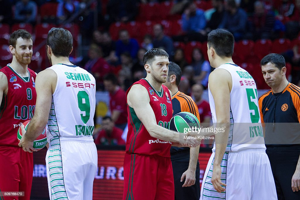 Eugeny Voronov, #18 of Lokomotiv Kuban Krasnodar <a gi-track='captionPersonalityLinkClicked' href=/galleries/search?phrase=Milko+Bjelica&family=editorial&specificpeople=5617486 ng-click='$event.stopPropagation()'>Milko Bjelica</a>, #51 of Darussafaka Dogus Istanbul before the Turkish Airlines Euroleague Basketball Top 16 Round 7 game between Lokomotiv Kuban Krasnodar v Darussafaka Dogus Istanbul at Basket Hall on February 12, 2016 in Krasnodar, Russia.