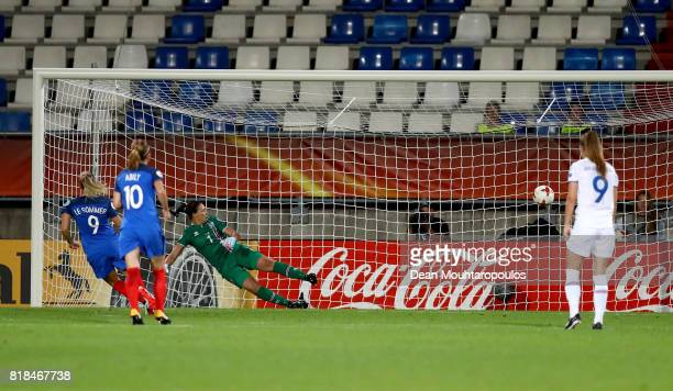 Eugénie Le Sommer of France scores the opening goal by penalty kick during the Group C match between France and Iceland during the UEFA Women's Euro...