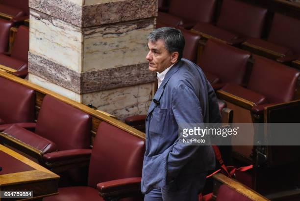 Euklid Tsakalotos Minister of Finance during discussion in the hellenic parliament on a draft law for austerity measures in Athens on June 9 2017
