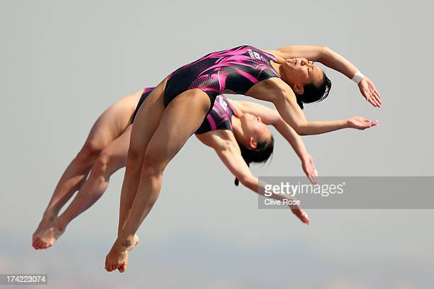 Eunbi Cho and Suji Kim of Korea compete in the Women's 10m Platform Synchronised Diving preliminary round on day three of the 15th FINA World...