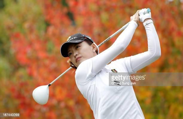 EunBi Jang of South Korea hits a tee shot during the second round of the Mizuno Classic at Kintetsu Kashikojima Country Club on November 9 2013 in...
