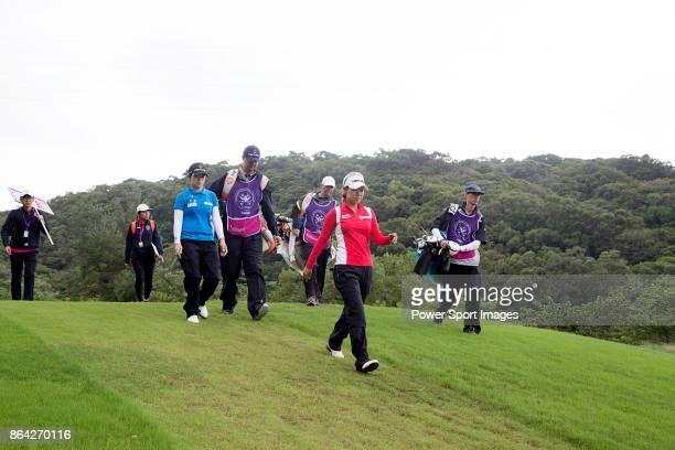 EunHee Ji of South Korea and Jenny Shin of South Korea walk towards the 5th fairway during day three of the Swinging Skirts LPGA Taiwan Championship...
