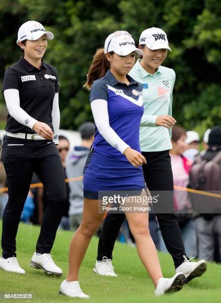 EunHee Ji of South Korea Jenny Shin of South Korea and Lydia Ko of New Zealand walk towards the first fairway during day four of Swinging Skirts LPGA...