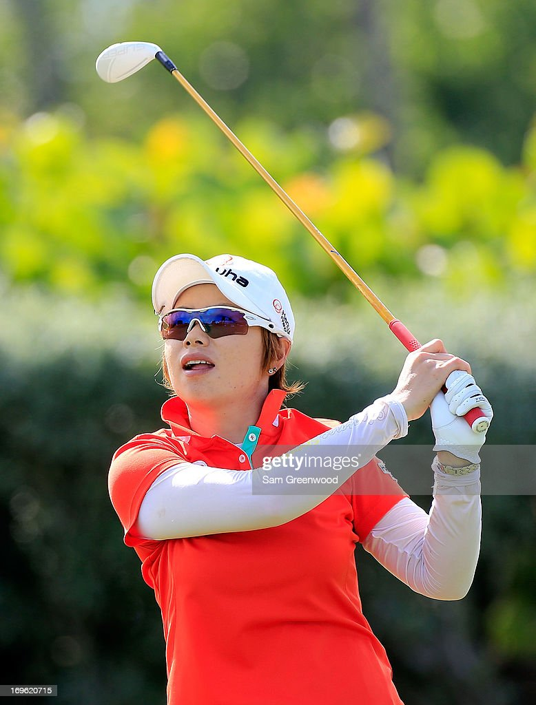 Eun-Hee Ji of South Korea plays a shot during the final round of the Pure Silk-Bahamas LPGA Classic at the Ocean Club course on May 26, 2013 in Paradise Island, Bahamas.