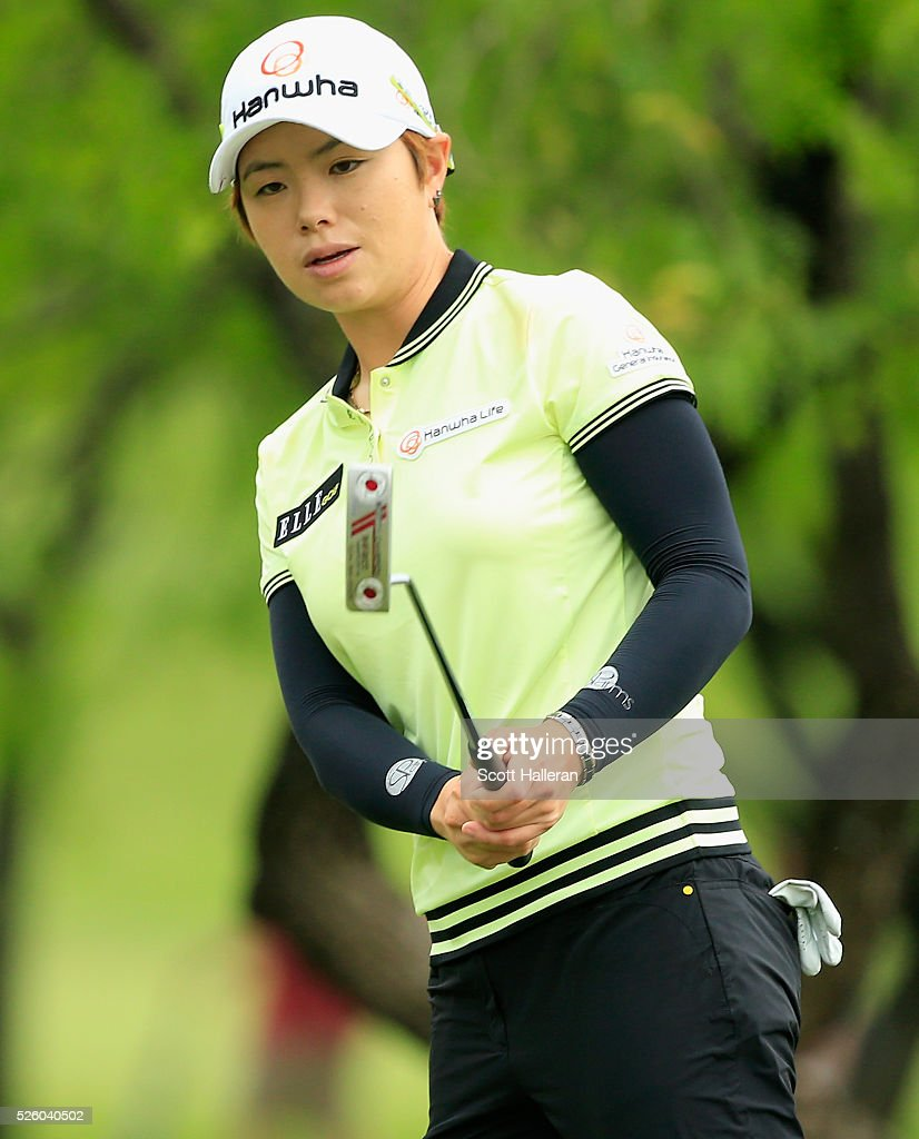 Eun-Hee Ji of South Korea watches her birdie attempt on the first green during the second round of the Volunteers of America Texas Shootout at Las Colinas Country Club on April 29, 2016 in Irving, Texas.