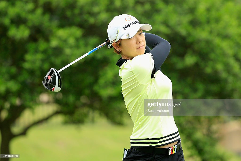 Eun-Hee Ji of South Korea watches her tee shot on the second hole during the second round of the Volunteers of America Texas Shootout at Las Colinas Country Club on April 29, 2016 in Irving, Texas.