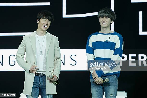 Eunhyuk and Donghae of South Korean boy band Super Junior DE perform onstage during the Super Junior DE Showcase on March 5 2015 in Seoul South Korea