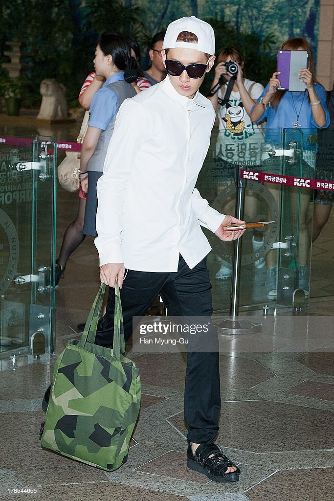 Eunhyuk of South Korean boy band Super Junior is seen on departure at Gimpo International Airport on August 30, 2013 in Seoul, South Korea.
