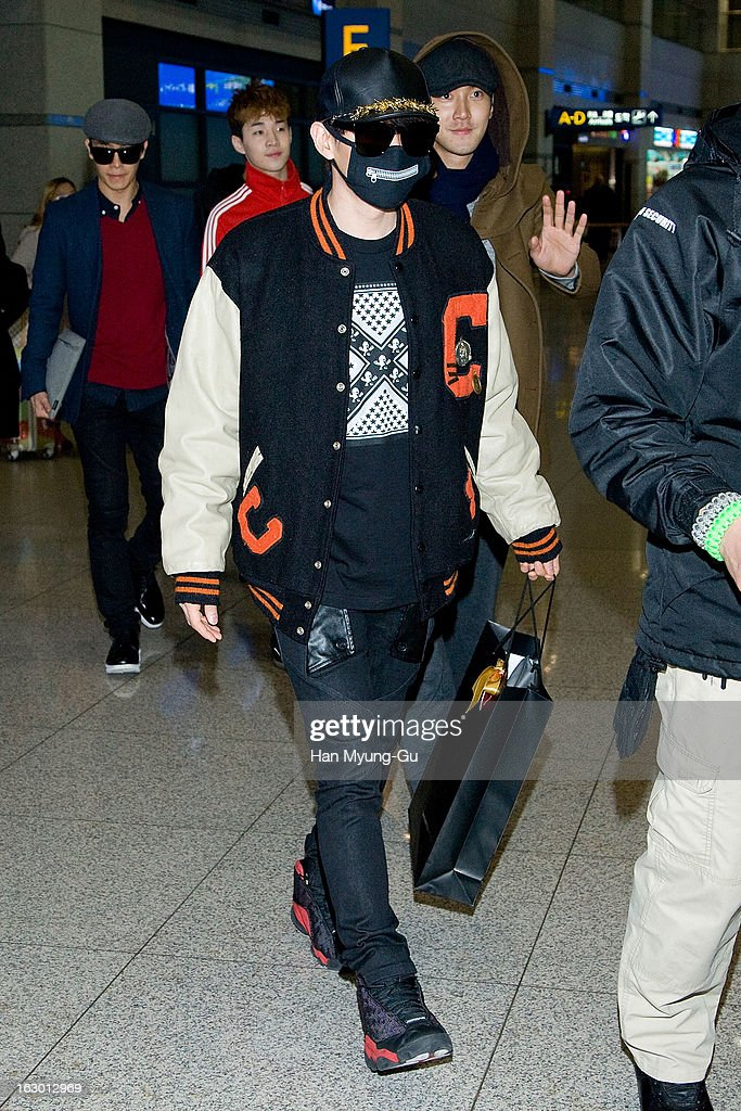 Eunhyuk of South Korean boy band Super Junior M is seen upon arrival from China at Incheon International Airport on March 3, 2013 in Incheon, South Korea.