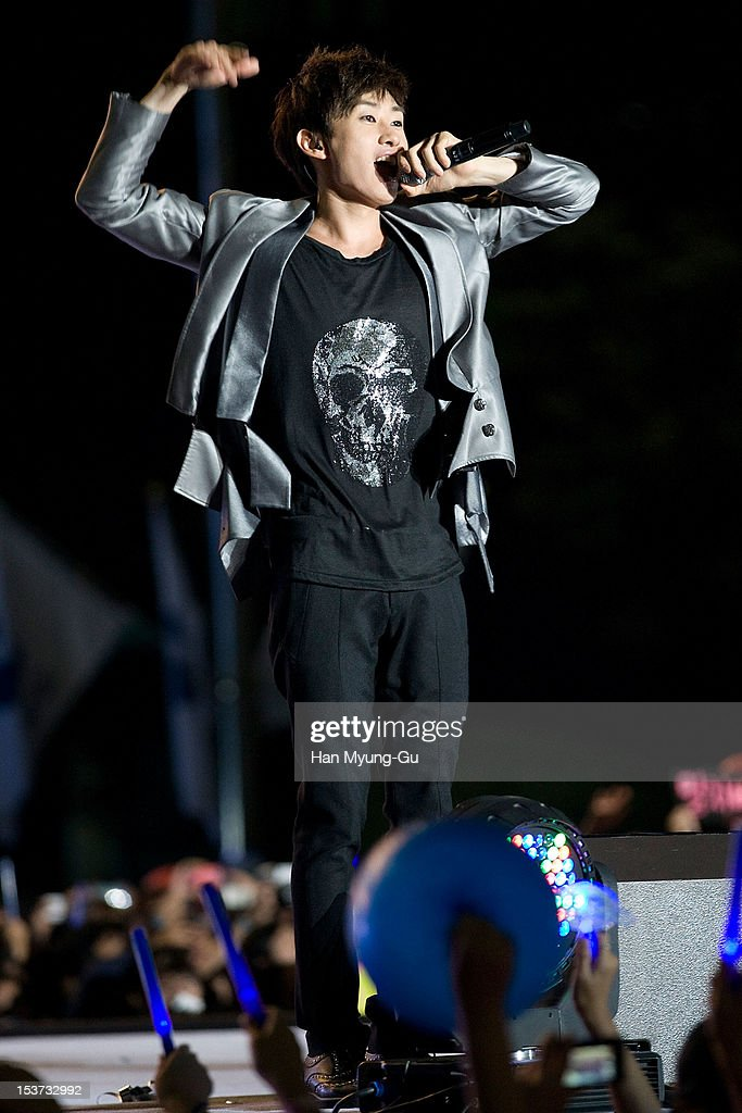Eunhyuk of South Korean boy band Super Junior performs onstage during the 2012 Gangnam Festival on October 7, 2012 in Seoul, South Korea.