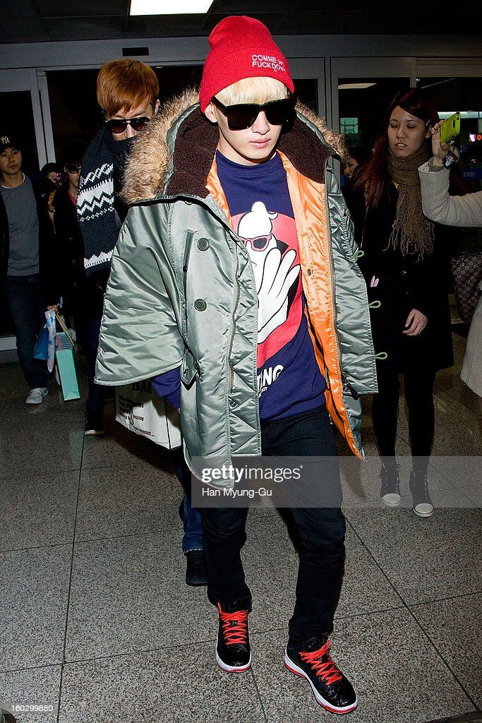 Eunhyuk of Super Junior M is seen at Incheon International Airport on January 28, 2013 in Incheon, South Korea.