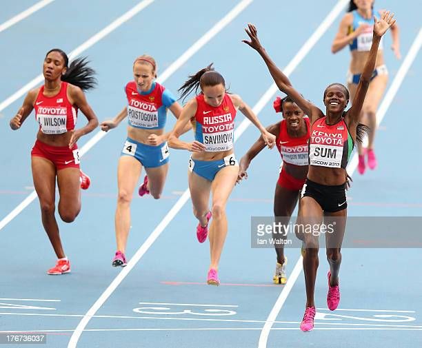 Eunice Jepkoech Sum of Kenya crosses the line to win gold ahead of Mariya Savinova of Russia in the Women's 800 metres final during Day Nine of the...