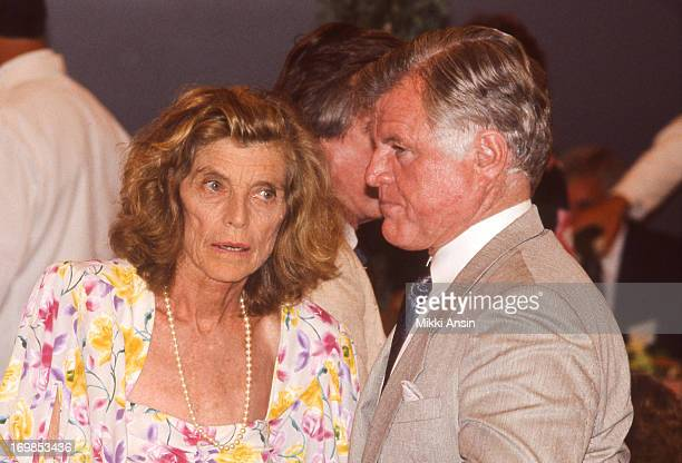 Eunice Kennedy Shriver and her brother Senator Edward Kennedy confer at the 100th birthday celebration of their mother Rose Fitzgerald Kennedy 22nd...