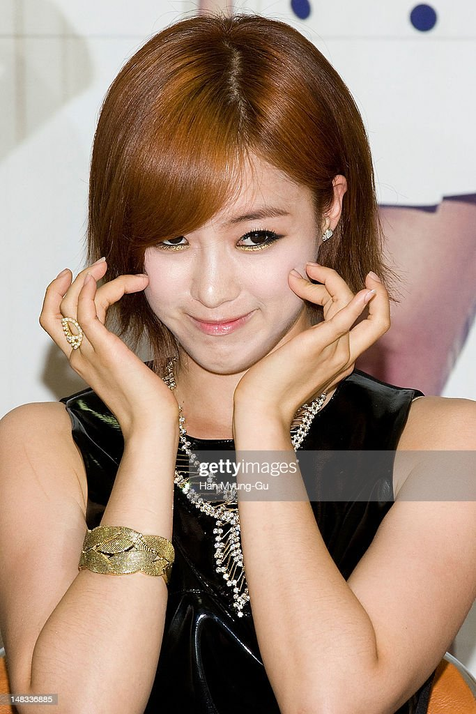 Eunjung (Eun-Jung) of South Korean girl group T-ara attends a press conference to promote their 6th mini album named 'Day by Day' at Kyung Hee University on July 14, 2012 in Seoul, South Korea.