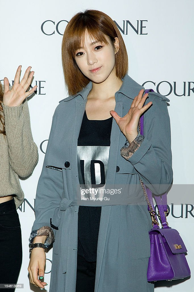 Eunjung of South Korean girl group T-ara attends during the Promotional event of 'Couronne' Flagship Store Renewal Opening Party at Couronne Gangnam Store on October 23, 2012 in Seoul, South Korea.