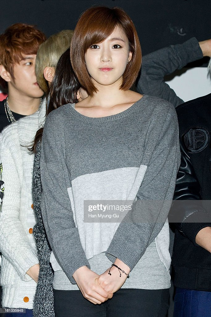 Eunjung (Eun-Jung) of South Korean girl group T-ara attends the Core Contents Media Artists New Year's Day Charity Event at Gibalhan Chicken Store on February 9, 2013 in Bucheon, South Korea.