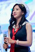 Eunjung of South Korean girl group Tara attends the press showcase for their 11th Mini Album 'So Good' on August 3 2015 in Seoul South Korea