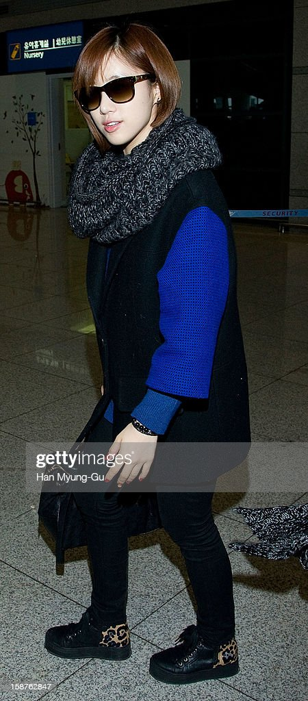 Eunjung of South Korean girl group T-ara is seen at Incheon International Airport on December 28, 2012 in Incheon, South Korea.