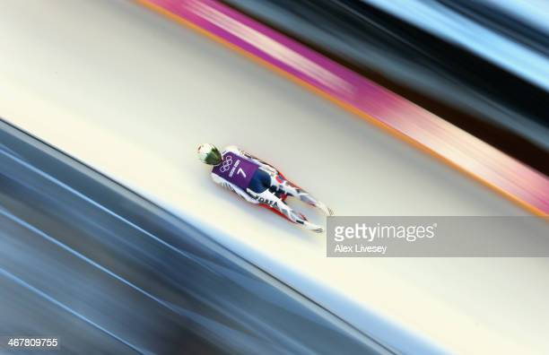 Eunryung Sung of Korea in action during a Women's Singles Luge training session on Day 1 of the Sochi 2014 Winter Olympics at the Sanki Sliding...