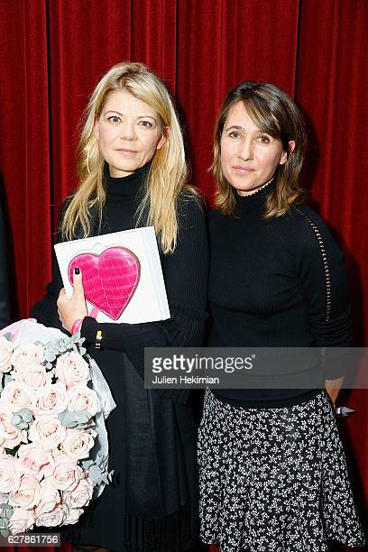 Eurazeo General Director Virginie Morgon Laureate of the prize of the woman of economic influence is pictured with French TV Presenter Alexia Laroche...