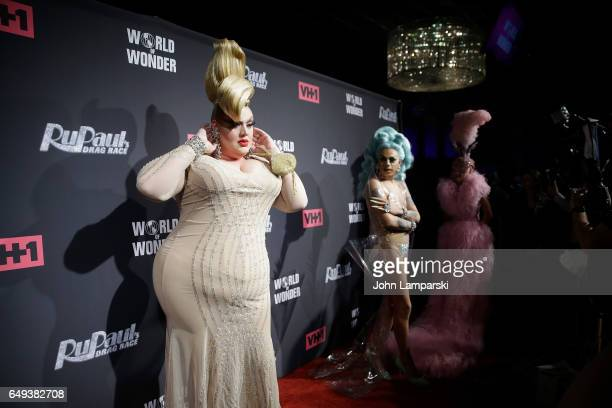 Eureka O'Hara Aja and Farrah Moan attend 'RuPaul's Drag Race' season 9 premiere party meet The Queens Event at PlayStation Theater on March 7 2017 in...