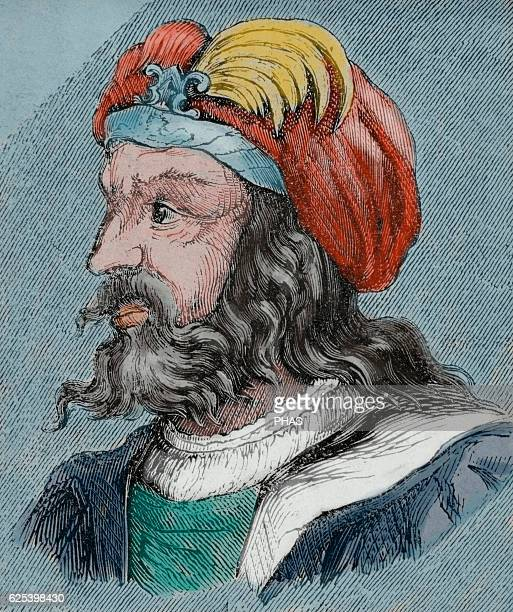 Euric Ruled as king of the Visigoths with his capital at Toulouse from 466 until his death in 484 Portrait Engraving Colored