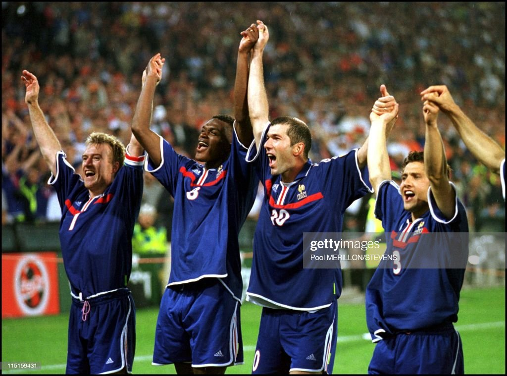 France - Italy: 2 - 1 in Rotterdam, Netherlands on July 02, 2000 - Deschamps, Desailly, Zidane and Lizarazu.