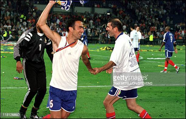 Euro 2000 France defeats Italy 2 1 in Rotterdam Netherlands on July 02 2000 Djorkaeff and Zidane