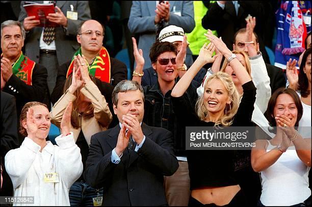 Euro 2000 France defeats Portugal 21 in the semi final in Brussels Belgium on June 28 2000 Didier Reynders Adriana Karembeu Linda Evangelista
